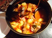 veal soup with veggies from the garden - yum